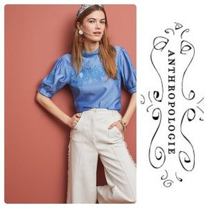 New Anthropologie Carrington Puff-Sleeved Blouse